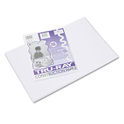 Pacon Tru-Ray Construction Paper, 76lb, 12 x 18, White, 50/Pack