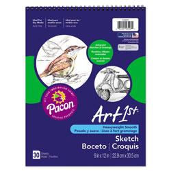 Pacon Art1st Artist's Sketch Book, 80 lb, 9 x 12, White, 30 Sheets