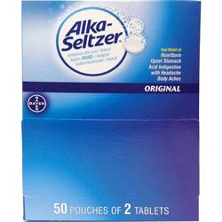 Alka-Seltzer® Indigestion Tablets, Alka-Seltzer, Original, 2/Pouch, 100/BX