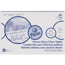 Roselle Paper Picture Story Chart Tablet, 24 in x 16 in, Ruled Pages, 20 Sheets