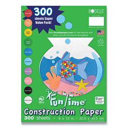 Roselle Paper Vibrant Art Heavyweight Construction Paper, 76 lb, 9 x 12, Assorted Colors, 300/Pack