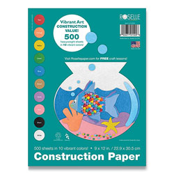 Roselle Paper Vibrant Art Heavyweight Construction Paper, 76 lb, 9 x 12, Assorted Colors, 500/Pack