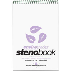 Roaring Spring Paper Enviroshades Steno Notebook, Gregg, 6 x 9, Orchid, 80 Sheets/Pad, 4/Pk.
