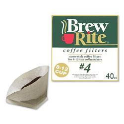 Brew Rite® Coffee Filters, Cone Style, 40/Box