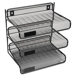 Rolodex Mesh Three-Tier Letter Size Desk Shelf, 10 x 7 x 9 3/8, Black