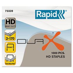 Rapid DUAX Heavy-Duty Staples, 0.75 in Leg, 0.5 in Crown, Steel, 1,000 Staples