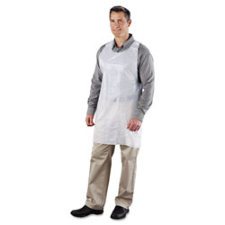 Royal   Poly Apron, White, 24 in. W x 42 in. L, One Size Fits All, 1000/Carton