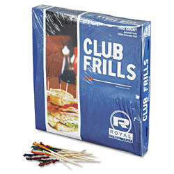 Royal   Club Cellophane-Frill Wood Picks, 4 in, Assorted, 10000/Carton