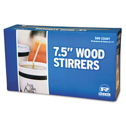 Royal   Wood Coffee Stirrers, 7 1/2 in Long, Woodgrain, 500 Stirrers/Box, 10 Boxes/Carton