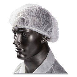 Amercare Latex-Free Operating Room Cap, Pleated, Polypropylene, White, 21 in, 100 Caps/Pack, 10 Packs/Carton