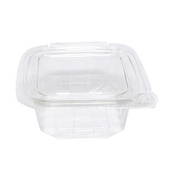 Eatery Essentials Hinged-Lid Tamper-Evident Container, 12oz, RPET, Clear