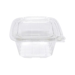 Eatery Essentials Hinged-Lid Tamper-Evident Container, 16oz, RPET, Clear
