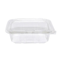 Eatery Essentials Hinged-Lid Tamper-Evident Container, 24oz, RPET, Clear