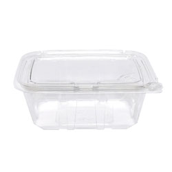 Eatery Essentials Hinged-Lid Tamper-Evident Container, 32oz, RPET, Clear