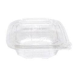 Eatery Essentials Hinged-Lid Tamper-Evident Container, 8oz, RPET, Clear