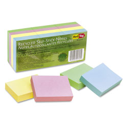 Redi-Tag/B. Thomas Enterprises 100% Recycled Notes, 1 1/2 x 2, Four Pastel Colors, 12 100-Sheet Pads/Pack