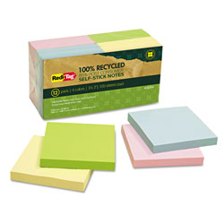 Redi-Tag/B. Thomas Enterprises 100% Recycled Notes, 3 x 3, Four Colors, 12 100-Sheet Pads/Pack