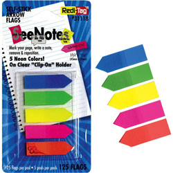 Redi-Tag/B. Thomas Enterprises Removable Small Arrow Page Flags, Blue, Green, Orange Pink, Yellow, 125/Pack
