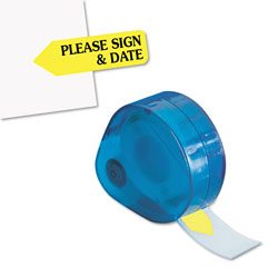 Redi-Tag/B. Thomas Enterprises Arrow Message Page Flags in Dispenser,  inPlease Sign and Date in, Yellow, 120 Flags