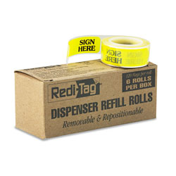 Redi-Tag/B. Thomas Enterprises Arrow Message Page Flag Refills,  inSign Here in, Yellow, 6 Rolls of 120 Flags
