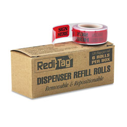 Redi-Tag/B. Thomas Enterprises Arrow Message Page Flag Refills,  inSign Here in, Red, 6 Rolls of 120 Flags/Box