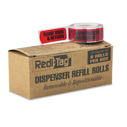 Redi-Tag/B. Thomas Enterprises Arrow Message Page Flag Refills,  inPlease Sign & Return in, Red, 120/Roll, 6 Rolls