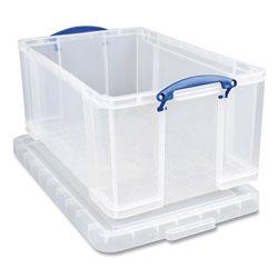 Really Useful Box® Snap-Lid Storage Bin, 16.9 gal, 17.31 in x 28 in x 12.25 in, Clear/Blue
