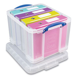 Really Useful Box® Snap-Lid Storage Bin, 8.45 gal, 14 in x 18 in x 12.25 in, Clear/Blue, 3/Pack