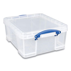 Really Useful Box® Snap-Lid Storage Bin, 4.49 gal, 11 in x 18 in x 4 in, Clear/Blue, 4/Pack
