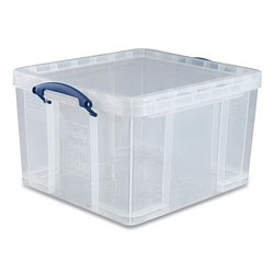 Really Useful Box® Snap-Lid Storage Bin, 11.09 gal, 17.31 in x 20.5 in x 12.25 in, Clear/Blue