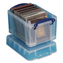 Really Useful Box® Snap-Lid Storage Bin, 0.79 gal, 7.06 in x 9.62 in x 6.25 in, Clear/Blue