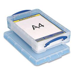 Really Useful Box® Snap-Lid Storage Bin, 1.05 gal, 10.25 in x 14.5 in x 3.37 in, Clear/Blue