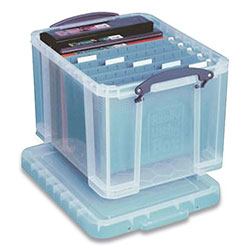 Really Useful Box® Stackable File Box, Legal Files, 14.5 x 18.5 x 12.75, Clear/Blue Accents