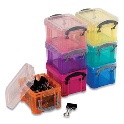 Really Useful Box® Snap-Lid Storage Bin, 0.03 gal, 1.75 in x 2.25 in x 1.5 in, Randomly Assorted Colors