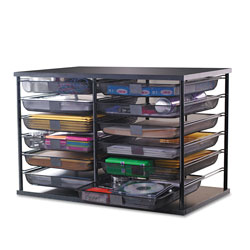Rubbermaid 12-Compartment Organizer with Mesh Drawers, 23 4/5 in x 15 9/10 in x 15 2/5 in, Black