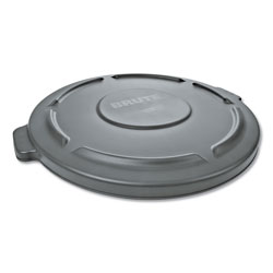 Rubbermaid Round Flat Top Lid, for 32-Gallon Round Brute Containers, 22 1/4 in, dia., Gray