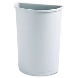 Rubbermaid Untouchable Waste Container, Half-Round, Plastic, 21 gal, Gray