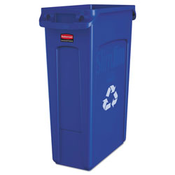 Rubbermaid Slim Jim Recycling Container w/Venting Channels, Plastic, 23 gal, Blue