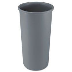 Rubbermaid Untouchable Waste Container, Round, Plastic, 22 gal, Gray