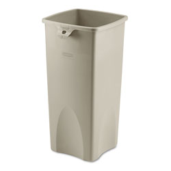 Rubbermaid Untouchable Square Waste Receptacle, Plastic, 23 gal, Beige