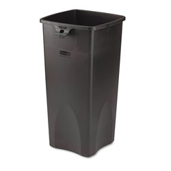 Rubbermaid Untouchable Square Waste Receptacle, Plastic, 23 gal, Black