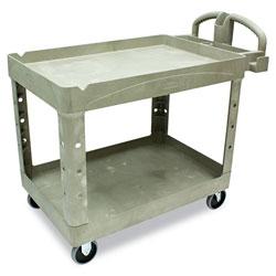 Rubbermaid Heavy Duty 2 Shelf Utility Cart, Structural Foam, 26w x 45d x 33h, Beige