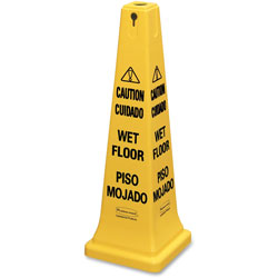 Rubbermaid Multilingual Safety Cone,  inCAUTION in, 12 1/4w x 12 1/4d x 36h, Yellow
