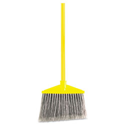 Rubbermaid Angled Large Broom, Poly Bristles, 46 7/8 in Metal Handle, Yellow/Gray