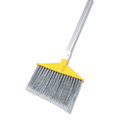 Rubbermaid Angled Large Brooms, Poly Bristles, 48 7/8 in Aluminum Handle, Silver/Gray