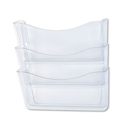 Rubbermaid Unbreakable Three Pocket Wall File Set, Letter, Clear