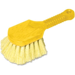 """Rubbermaid Pot Scrubber Brush, 8"""" Plastic Handle, Gray Handle with Yellow Bristles"""