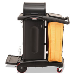 Rubbermaid High-Security Healthcare Cleaning Cart, 22w x 48.25d x 53.5h, Black