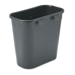 Safco Paper Pitch Recycling Bin, Rectangular, Polyethylene, 1.75 gal, Black