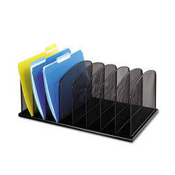 Safco Onyx Mesh Desk Organizer with Upright Sections, 8 Sections, Letter to Legal Size Files, 19.5 in x 11.5 in x 8.25 in, Black